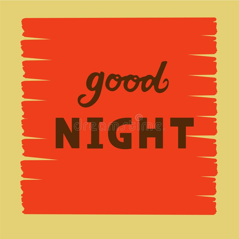 Vector illustration of good night text logotype, flyer, banner, greeting card. Vector illustration of good night text for logotype, flyer, banner, invitation or stock illustration