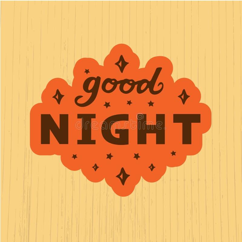 Vector illustration of good night text logotype, flyer, banner, greeting card. Vector illustration of good night text for logotype, flyer, banner, invitation or vector illustration