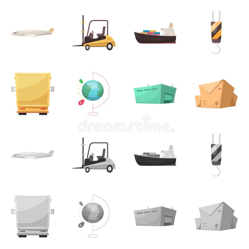 Vector illustration of goods and cargo symbol. Collection of goods and warehouse vector icon for stock. Isolated object of goods and cargo sign. Set of goods vector illustration