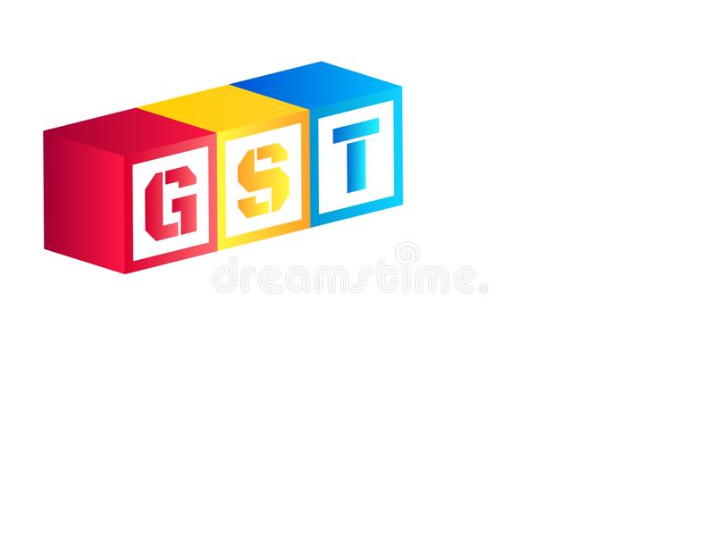 Vector illustration of Goods and Services Tax or GST with red, yellow and blue color dice or cubes on white background with copy s royalty free illustration