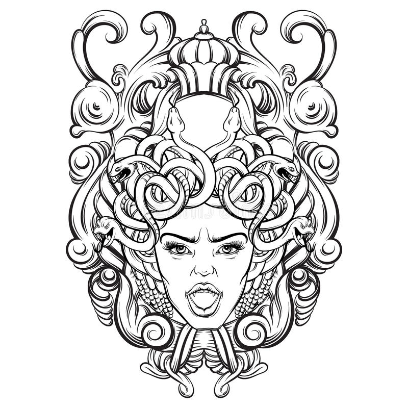 Vector illustration of gorgone with baroque frame made in hand drawn style. vector illustration