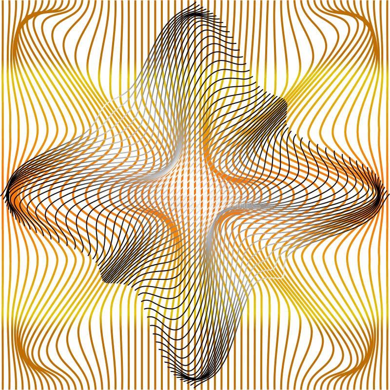 Vector illustration of gradient golden and grey distort and deformation net or mesh warp texture. Vector illustration of gradient golden and grey distort and royalty free illustration