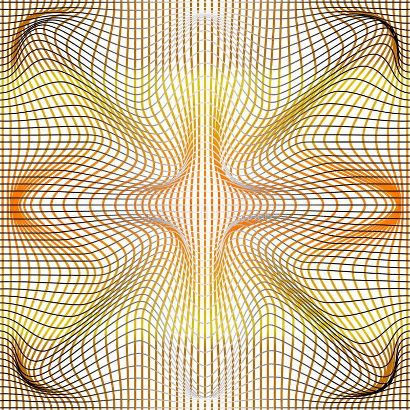 Vector illustration of gradient golden and grey distort and deformation net or mesh warp texture. On white background vector illustration