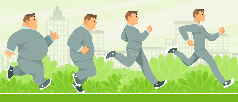 Gradual weight loss man. Vector illustration of gradual weight loss man vector illustration