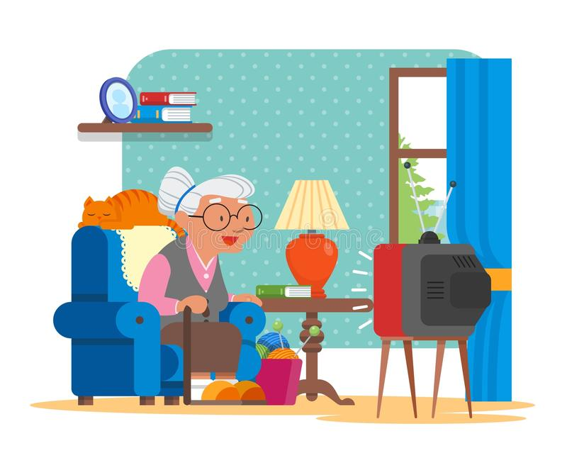 Vector Illustration Of Grandmother Sitting In Armchair And