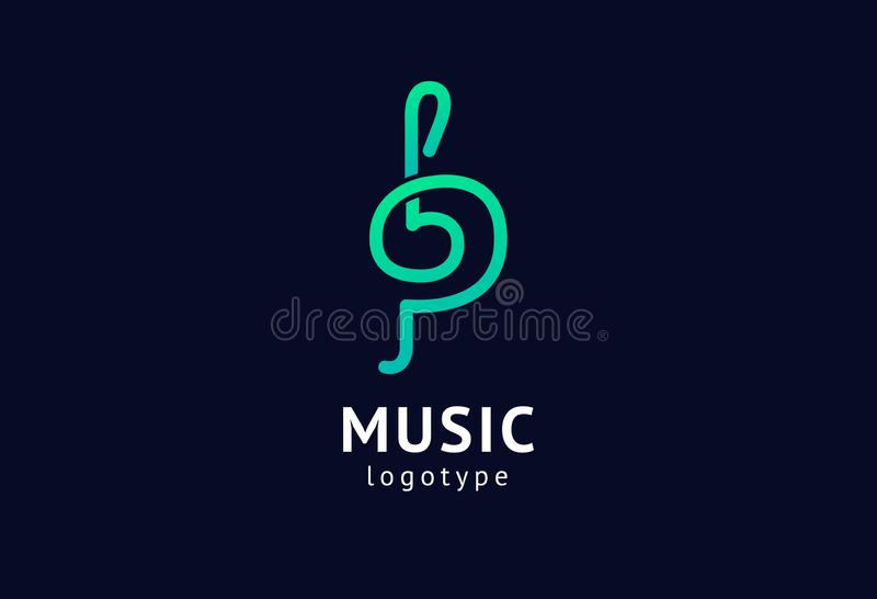 Vector illustration, Graphic Design treble clef logotype. Abstract music icon vector design. Sound recording studio, night party. royalty free illustration