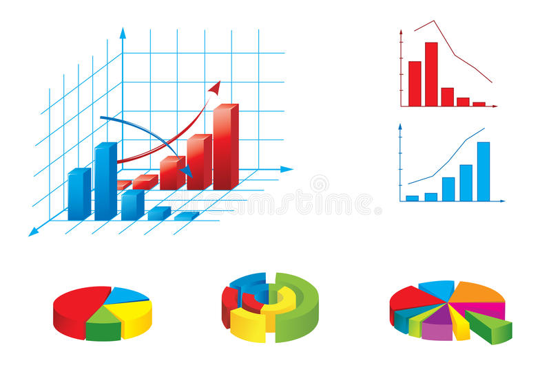 Vector illustration of graphs. Various kinds of colourful graphs and diagrams stock illustration