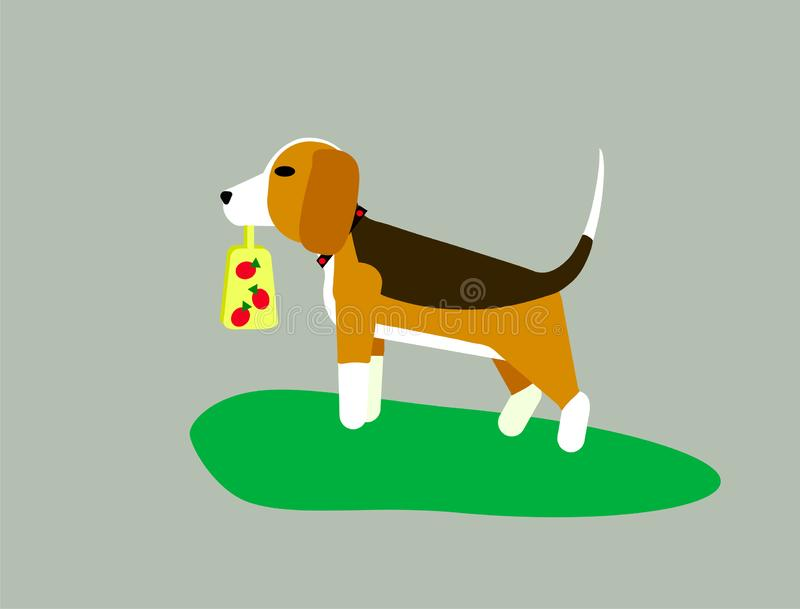 Vector illustration on gray background. The dog the beagle or the harrier walks across the lawn on the grass. Sign a royalty free illustration