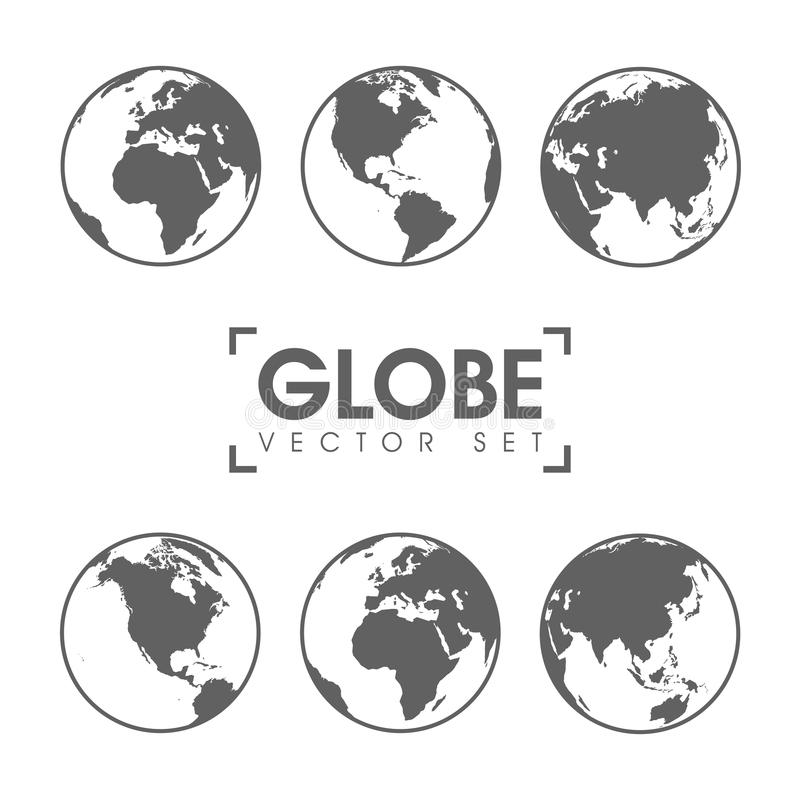 Vector Illustration of gray globe icons with different continents royalty free illustration