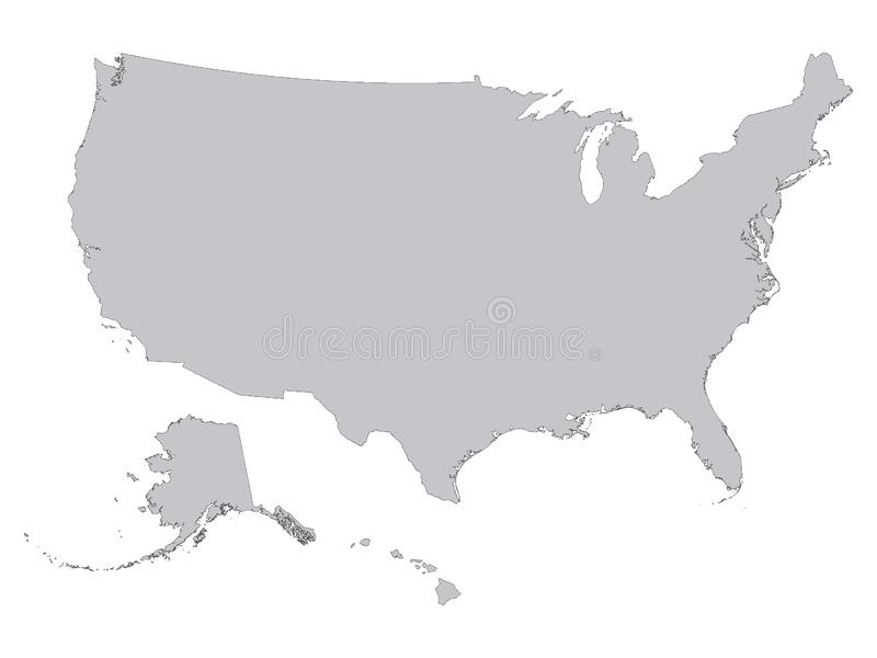 Gray Outline Map of the United States of America White Background. Vector illustration of the Gray Outline Map of the United States of America White Background stock illustration