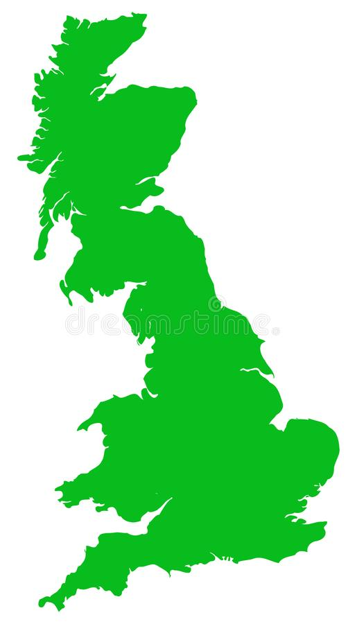 Great Britain Vector Map Green Flat Isolated royalty free illustration