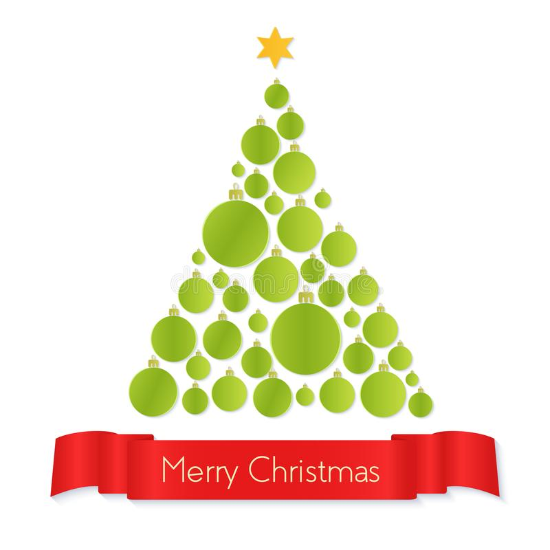 Download Vector Illustration Of Green Colored Paper Christmas Tree Made With Balls And Greeting On Ribbon