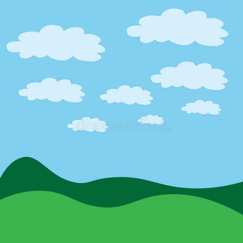 Vector illustration. Green landscape with blue sky sun and clouds. clouds pattern. Vector illustration. Green landscape with blue sky sun and clouds vector illustration