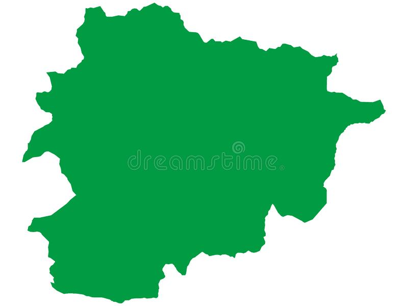 Green Map of European Country of Andorra. Vector Illustration of the Green Map of European Country of Andorra vector illustration