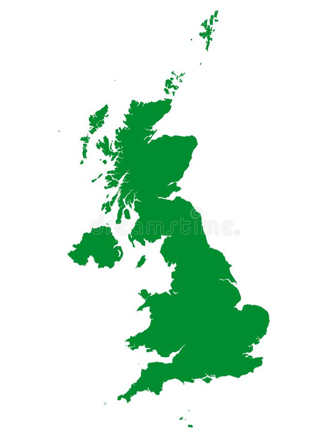 Green Map of European Country of United Kingdom. Vector Illustration of the Green Map of European Country of United Kingdom stock illustration