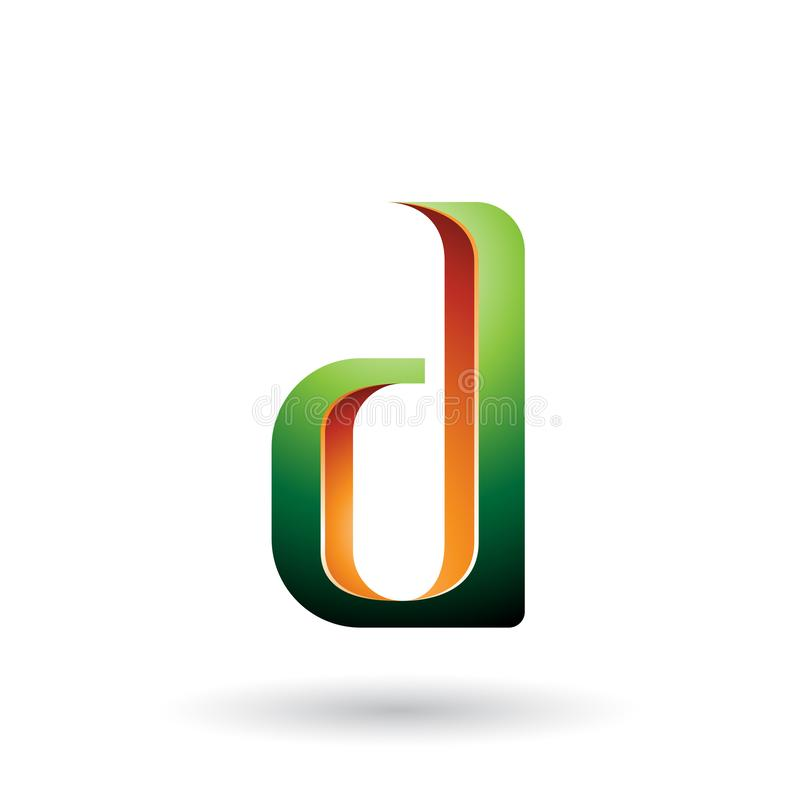 Green and Orange Shaded Letter D isolated on a White Background royalty free illustration