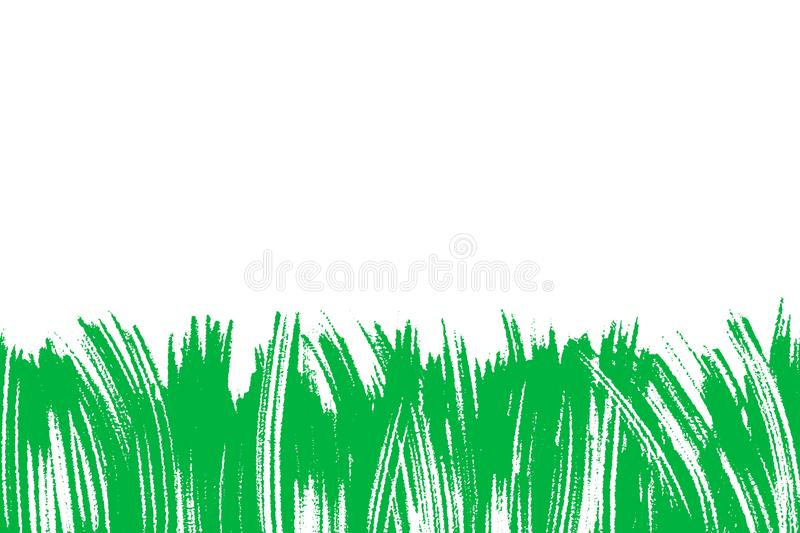 Vector illustration with green painted grass, artistic botanical background, isolated floral abstract element, hand vector illustration