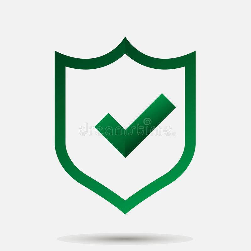 Vector Illustration Of Green Shield With Tick And Cross Symbol
