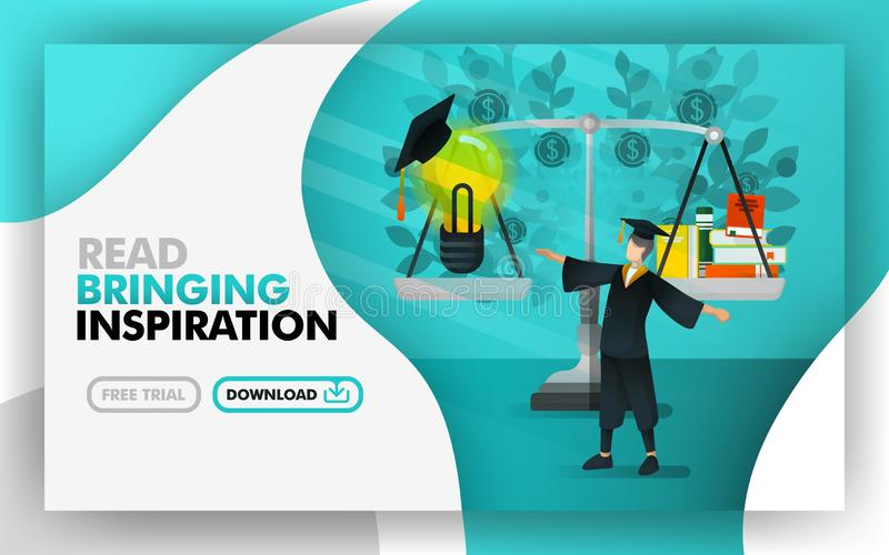 Vector illustration . Green website banners about reading bring inspiration. bachelor was standing between scales, book and and li. Ght bulbs use toga. can use royalty free illustration