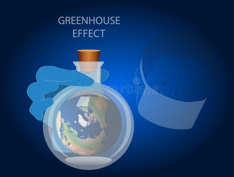 Vector illustration on the greenhouse effect. Lab technician in a mask holding a flask with the Earth inside royalty free illustration