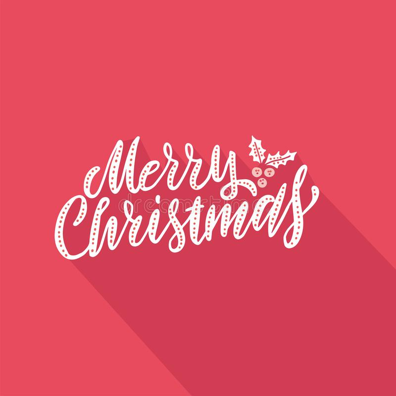 Vector illustration Greeting card with hand lettering type of Merry Christmas on red paper background with falling shadow stock illustration