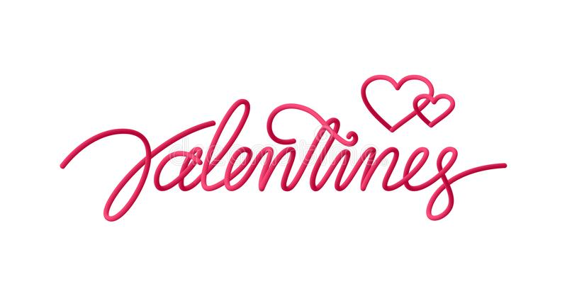 Greeting card with handwritten 3d line type lettering of Valentine`s Day royalty free illustration