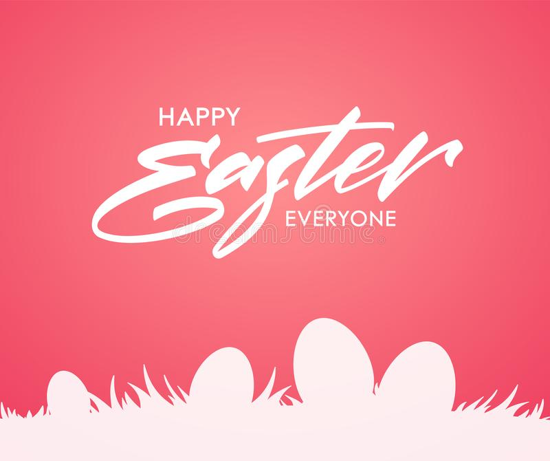 Greeting card with handwritten type lettering of Happy Easter and silhouette of eggs on grass on pink background. vector illustration