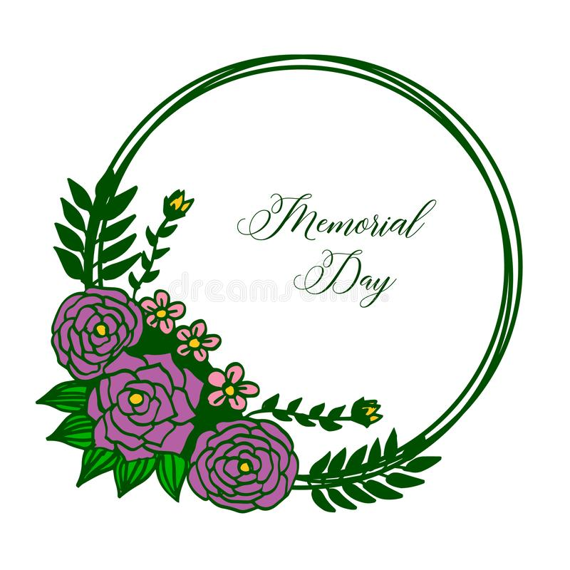 Vector illustration greeting card of memorial day with artwork purple rose flower frame royalty free illustration