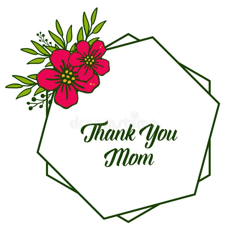 Vector illustration greeting card thank you mom with art red flower frame vector illustration