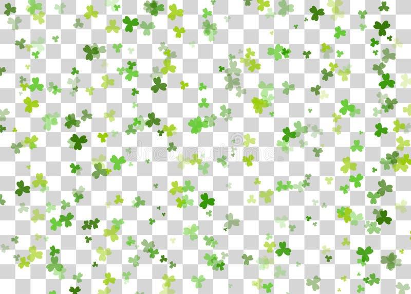 Green clover background transparent vector. Vector illustration. Greeting happy St. Patricks day holiday. Green clover random size falling shimmer transparent vector illustration