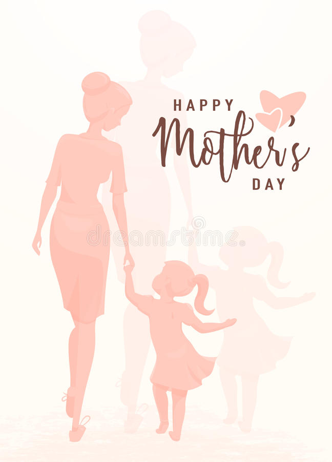 Vector illustration of greeting mother day. Mom holds her daughter by the hand vector illustration