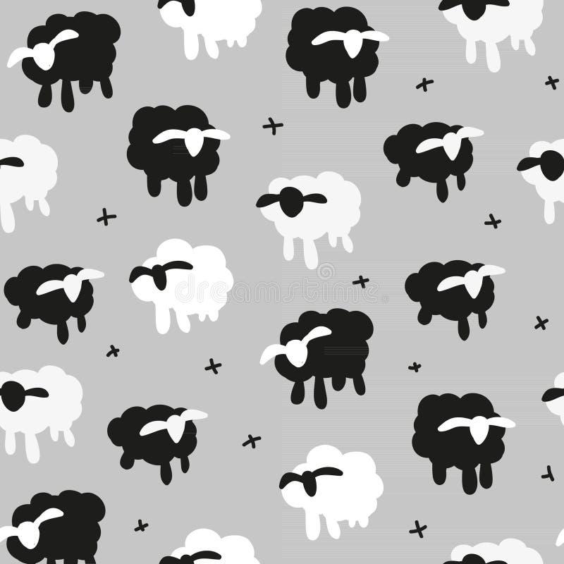 Vector illustration on grey background seamless pattern black white sheeps royalty free stock photo