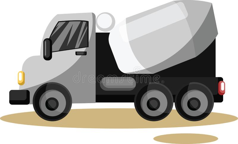 Vector illustration of grey cement mixer vehicle vector illustration
