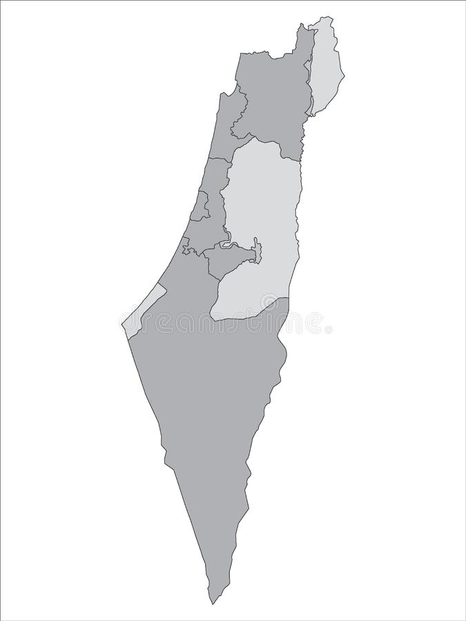Grey Map of Districts of State Israel. Vector Illustration of the Grey Map of Districts of State Israel vector illustration