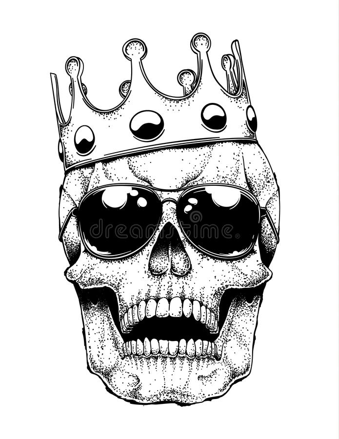 Skull in a Crown stock illustration