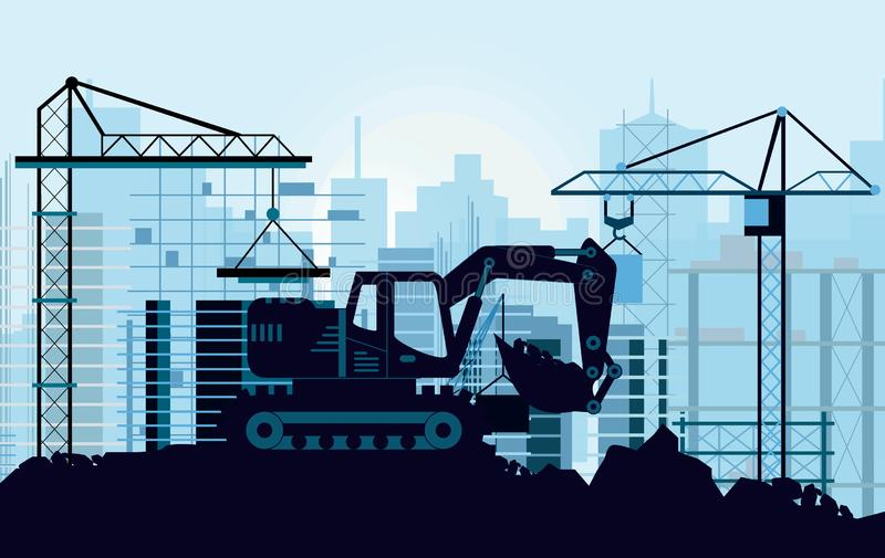 Vector illustration of ground works on construction concept. Excavator digging ground silhouette of buildings and cranes. On background in flat style royalty free illustration