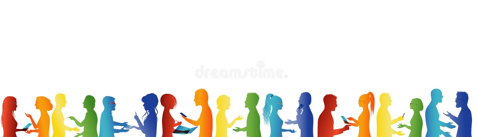 Group cooperation and success. Concept teamwork. Large group of people talking. Discussion between business people. Meeting organi vector illustration