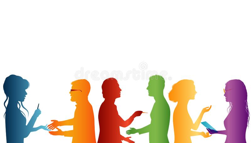 Cooperation between groups of people. Strategy solution and success. Concept teamwork. Speech among people. Young people who work. Students who talk and interact vector illustration