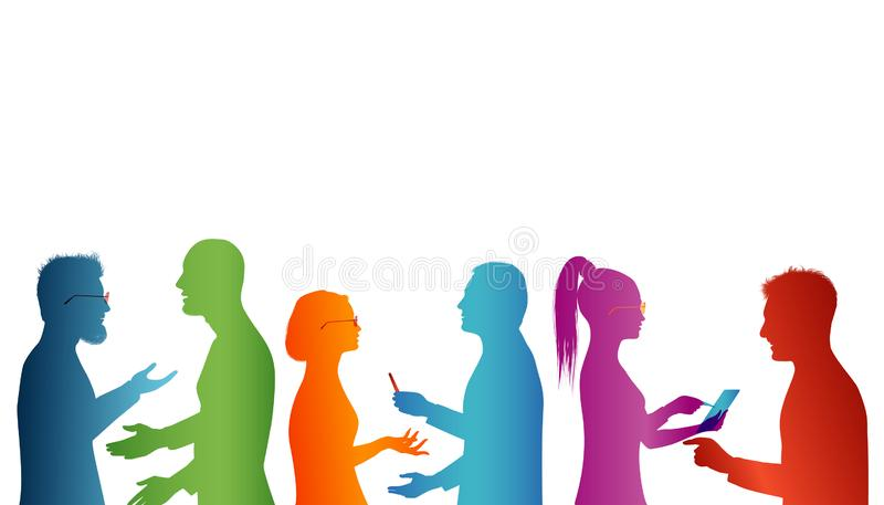 Strategy solution and success. Cooperation between groups of people. Concept teamwork. Speech among people. Young people who work. Possible use for concept stock illustration