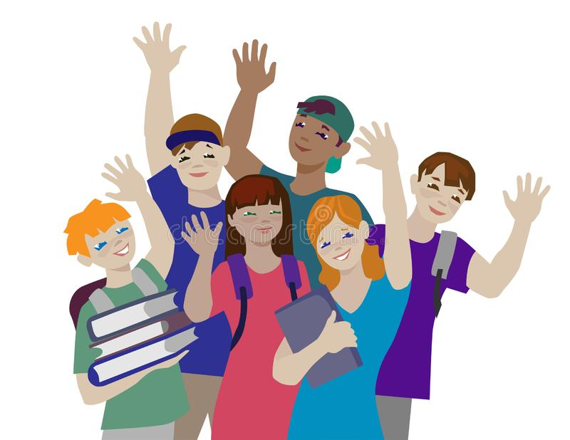 Group of teenagers waving to camera stock illustration