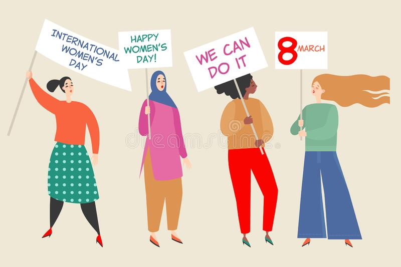 Vector illustration with a group of women holding placards with congratulations to the International Women`s Day. Happy young women of different nationalities vector illustration