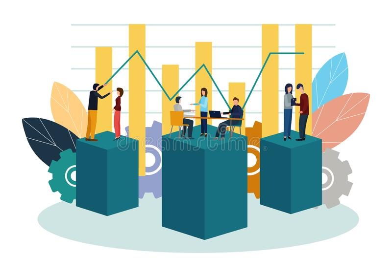 Vector illustration. Growth chart concepts, work of professional people teamwork.  vector illustration