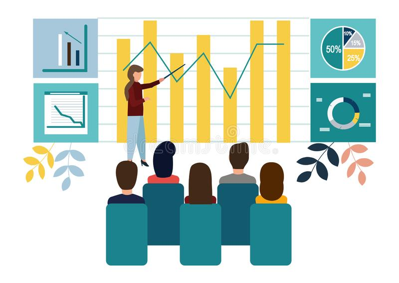 Vector illustration. Growth chart concepts, work of professional people teamwork. Flat style.  royalty free illustration