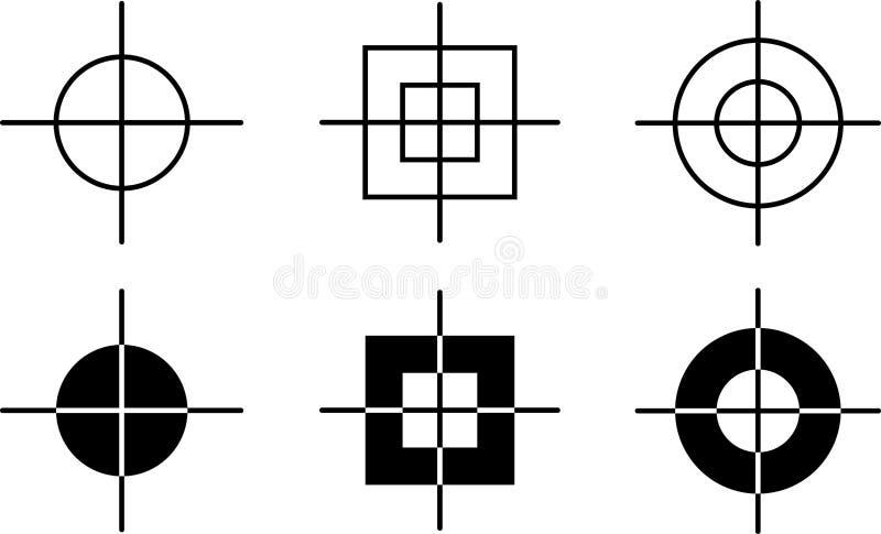 Cross target pointer gun sight. Vector illustration of gun sight cross target pointer on white background royalty free illustration
