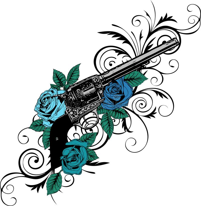 Vector illustration of guns on the flower and ornaments floral with tattoo drawing style vector illustration