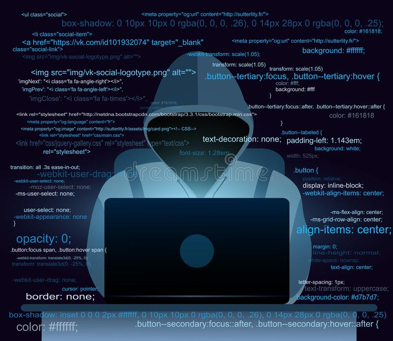 vector illustration of hacker with laptop hacking the internet on world map background computer security concept stock vector illustration of icon code 127161228 vector illustration of hacker with