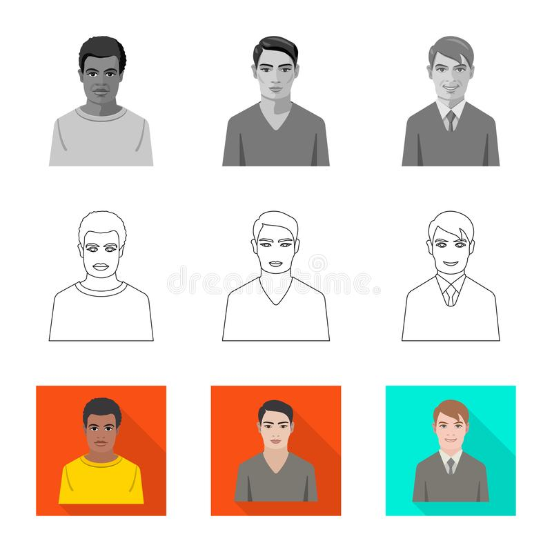 Vector design of hairstyle and profession  logo. Set of hairstyle and character  stock symbol for web. Vector illustration of hairstyle and profession  icon royalty free illustration