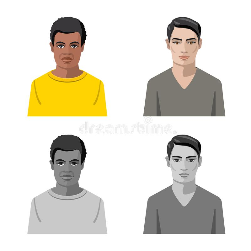 Vector illustration of hairstyle and profession icon. Set of hairstyle and character vector icon for stock. Isolated object of hairstyle and profession symbol stock illustration