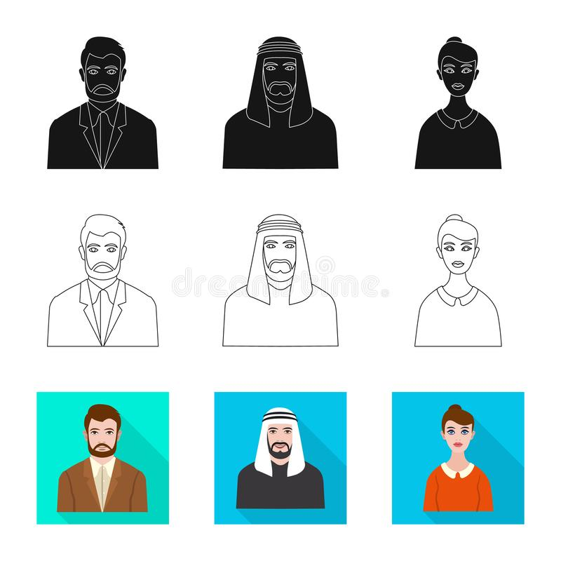 Vector design of hairstyle and profession  symbol. Set of hairstyle and character  stock symbol for web. Vector illustration of hairstyle and profession  sign stock illustration