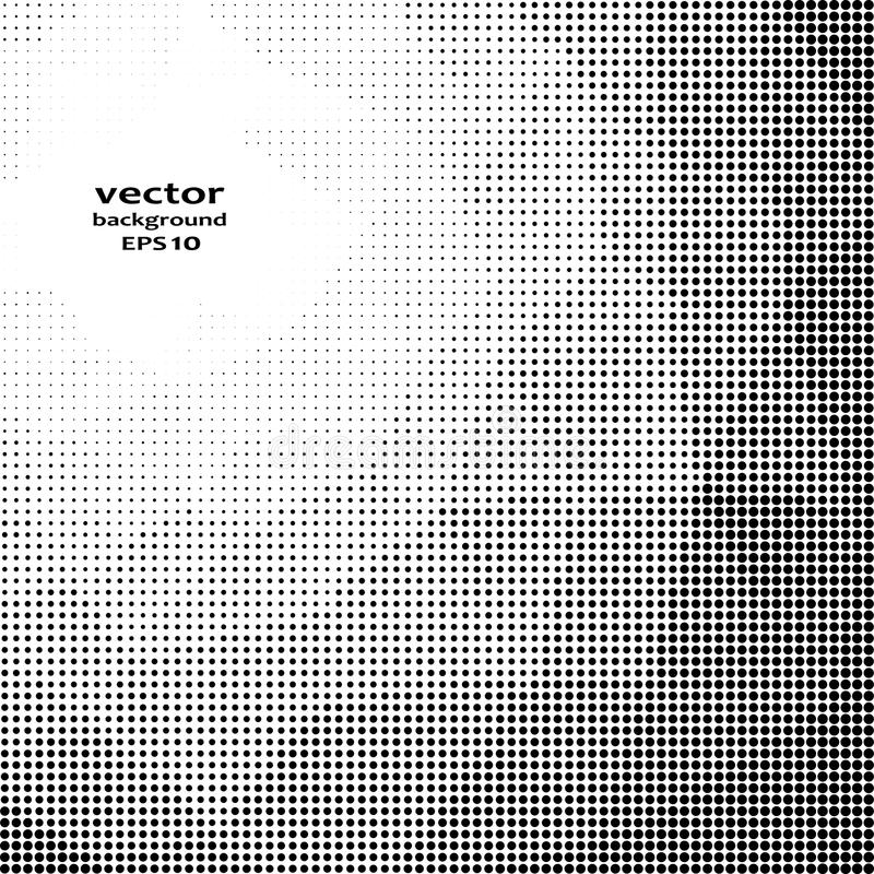 Vector illustration with halftone pattern. Black and white abstract vector background. stock illustration
